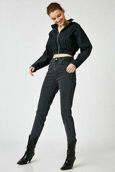 Kadın Siyah Pamuklu Yüksek Bel Mom Jeans