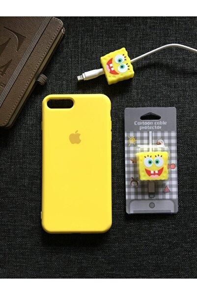 Iphone 7 Plus Ve 8 Plus Modellere Uyumlu, Logolu Lansman Kılıf Kablo Koruyucu