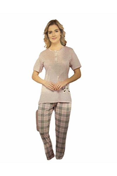 Kadın Pudra Kısa Kollu Pijama Takımı