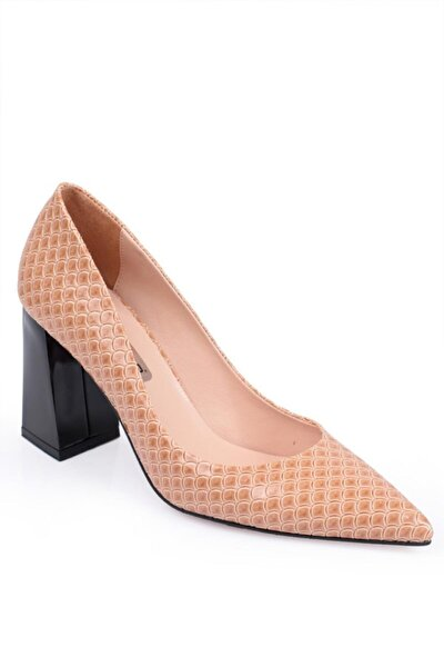 Kadın Bej Kalın Topuklu Ayakkabı