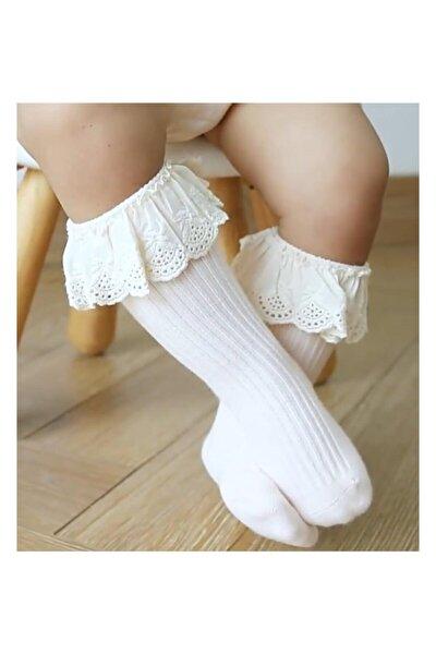 Kız Bebek Çocuk Dizaltı Dantelli Ekru Çorap (1-3 YAŞ)