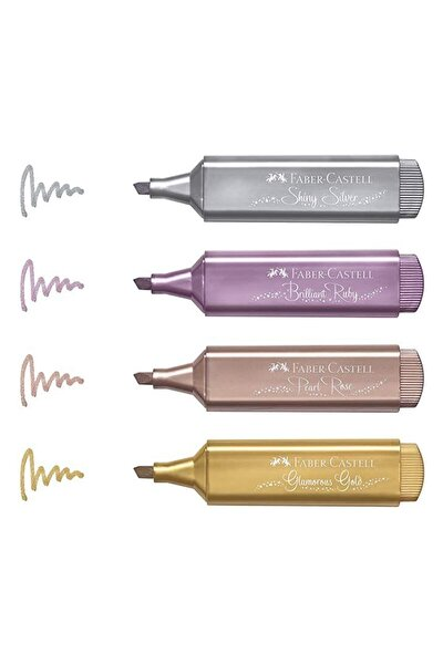 Fosforlu Kalem 4'lü Karton - Metalik Renkler