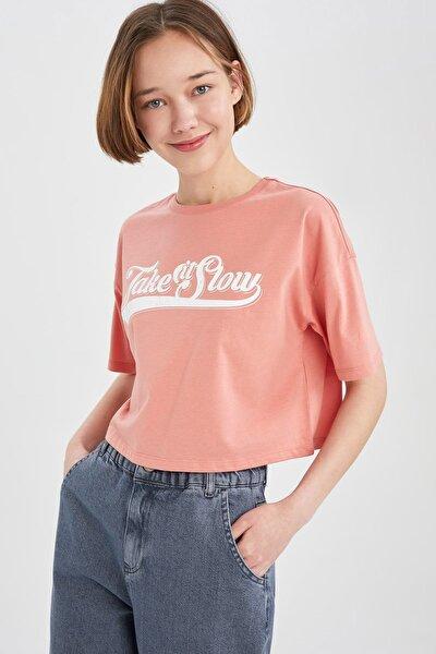Kadın Ekru Coool Slogan Baskılı Relax Fit Crop Tişört U5880AZ21SPER