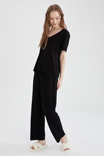 Kadın Siyah Basic Kısa Kollu Relax Fit Pijama Takımı