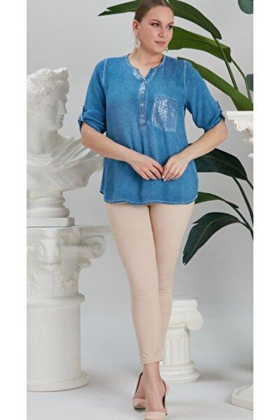 Kadın Indigo Cep ve Yaka Pul Payet Detaylı Büyük Beden Bluz