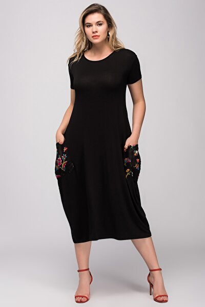 Kadın Siyah Yazma Cep Viskon Kumaş Elbise 65N24029