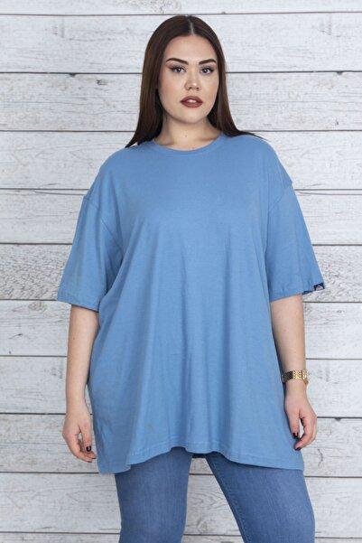 Kadın Mavi Geniş Kesim Pamuklu Kumaş Oversize Bluz 65N23862