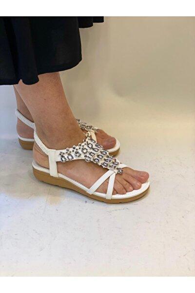 21y120-2 Beyaz Taşlı Sandalet