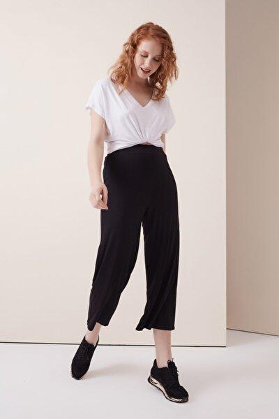 Siyah Beli Lastikli Penye Pantolon