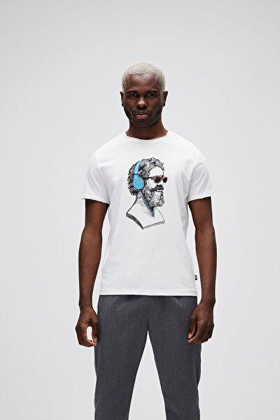 Erkek Beyaz Baskılı T-Shirt