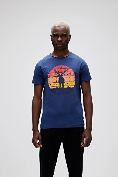 Erkek Mavi Alaska Deer Tee T-shirt  21.01.07.001