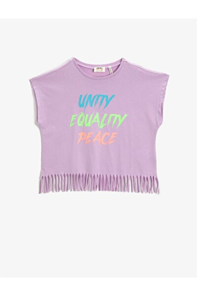 Kız Çocuk Yazılı Baskılı Püsküllü Bisiklet Yaka Pamuklu T-Shirt