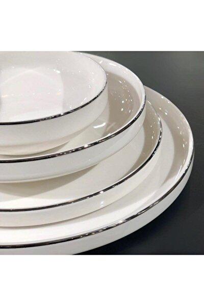 Gümüş Modern 48 Parça Yemek Takımı 12 Kişilik