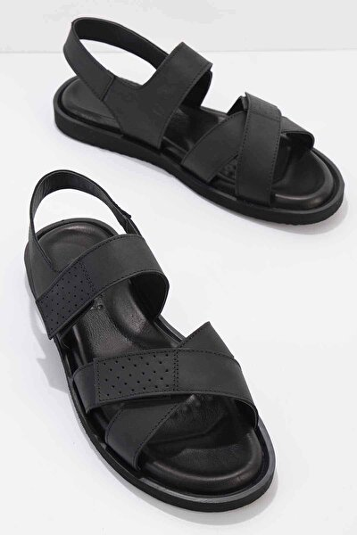 Hakiki Deri Siyah Erkek Sandalet E05801043403