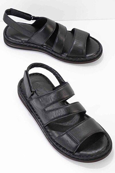 Hakiki Deri Siyah Erkek Sandalet E05804020903