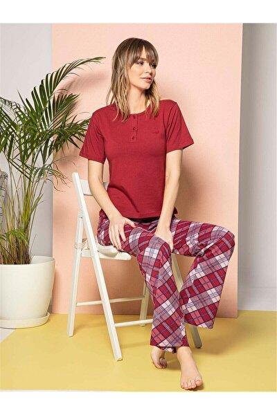 Kadın Kırmızı Bisiklet Yaka Altı Ekoseli Kısa Kollu Pijama Takımı
