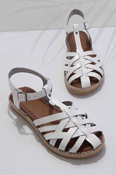 Hakiki Deri Beyaz Kadın Sandalet K05684800303