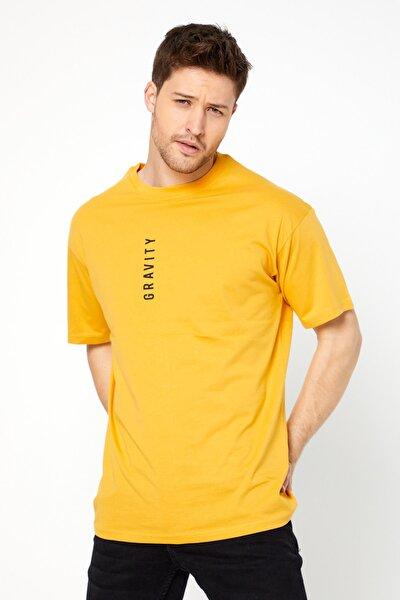 Unisex Gravity Yazılı Sarı Renk Oversize T-shirt