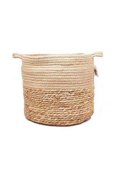 Kulplu Orta Naturel Hasır Sepet Pnl-10213