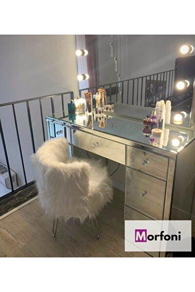 Peluş Makyaj Sandalyesi Beyaz Kumaş - Gri Metal Ayak Mrf-4267