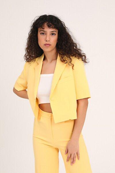 Kadın Kısa Kol Crop Blazer Ceket Sarı