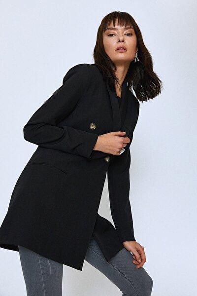 Kruvaze Blazer Ceket Siyah