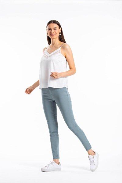 Kadın Su Yeşili Likralı Pantolon