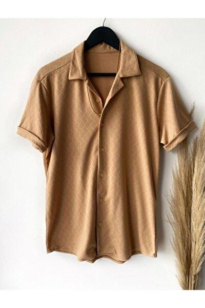 Erkek Kahverengi Kısa Kol Gömlek