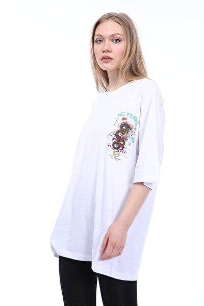 Kadın Beyaz No Fears Baskılı Oversize T-shirt