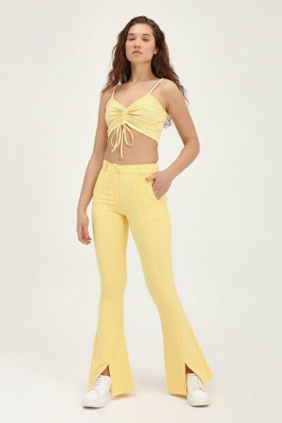 Kadın Ispanyol Paça Yüksek Bel Pantolon Sarı