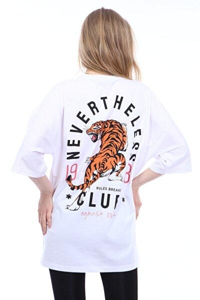 Kadın Beyaz Nevertheless Kaplan Baskılı Oversize T-shirt