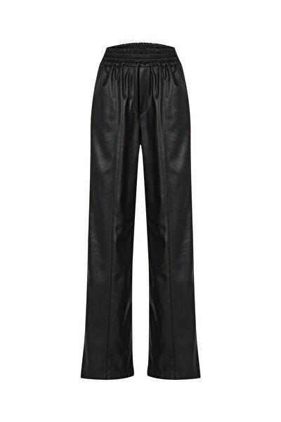 Beli Lastikli Deri Pantolon Siyah