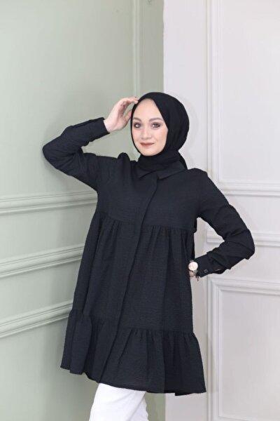 Kadın Pileli Gömlek Yaka Tunik