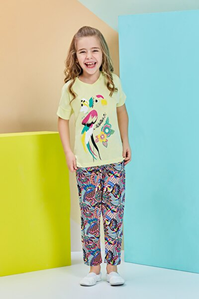 Kısa Kollu Kız Çocuk Pijama Takımı