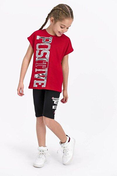 Kız Çocuk Kırmızı Positive Tayt Bermuda Takım