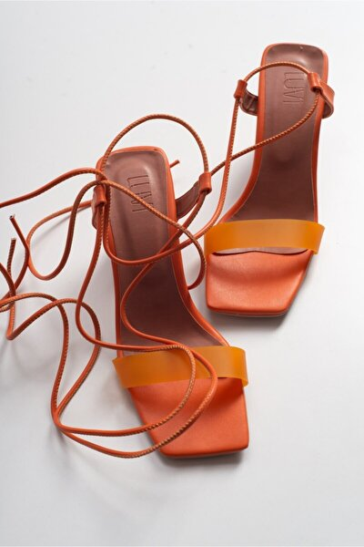 Kadin Turuncu Cılt Topuklu Sandalet