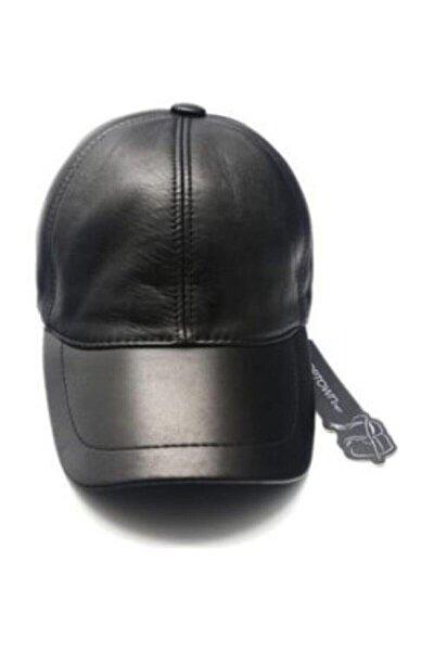 Unisex Siyah Hakiki Deri Kep Şapka 0004