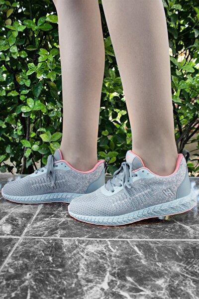 Gri Pudra Hafif Günlük Spor Yürüyüş Sneaker Ayakkabı