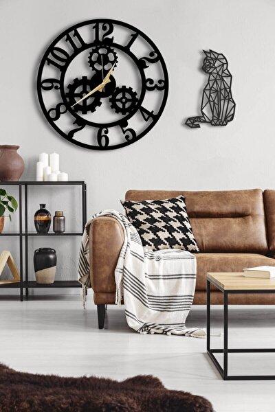 Dekoratif Siyah Duvar Saati 50 x 50 cm ve Kedili Tablo