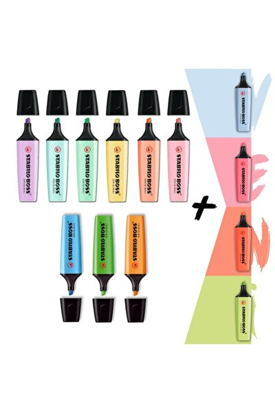 4 Yeni Pastel + 6 Pastel + 3 Canlı Renk  13'lü Fosforlu Kalem Seti