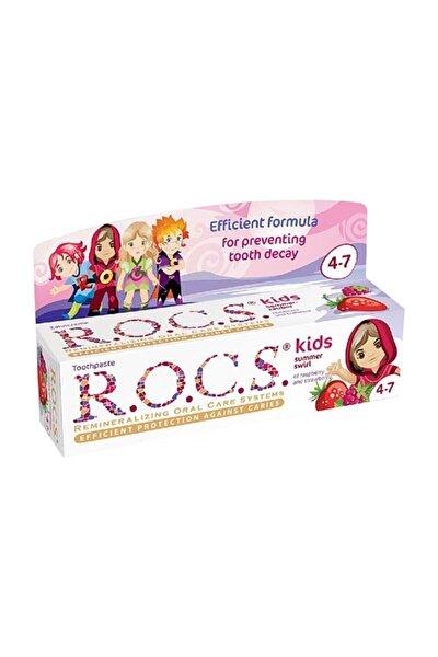 Rocs Kids Yaz Esintisi Ahududu& Çilek Diş Macunu 45g 4-7 Yaş 4607034470517