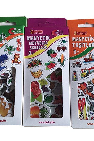 3'lü Manyetik Set Hayvanlar Meyveler Taşıtlar