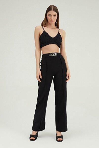 Kadın Siyah Beli Zincir Detaylı Pantolon