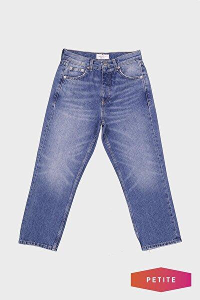 Eliza Cropped Mavi Yüksek Bel Straight Fit Patı Düğmeli Jean Pantolon C 4518-023