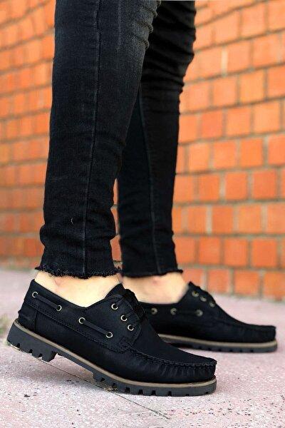 Erkek Siyah Bağcıklı Casual Klasik Ayakkabı
