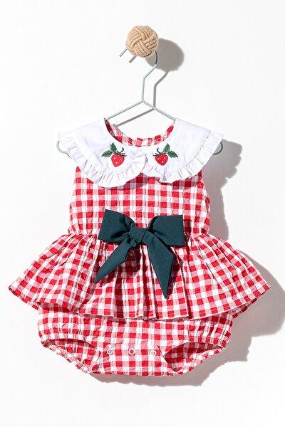 Kız Bebek Pötikareli Fırfır Beyaz Çilek Yakalı Fiyonklu Elbise