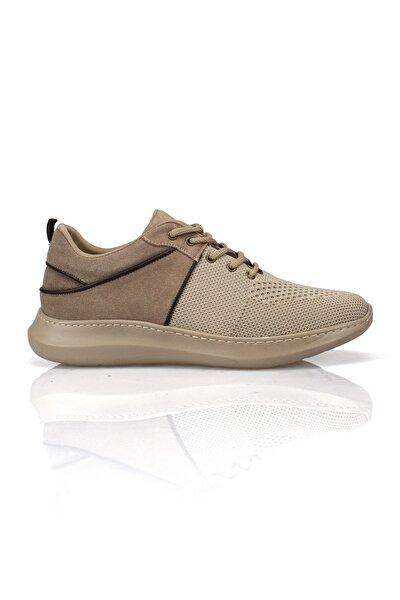 Bej Hakiki Deri & Triko Erkek Ayakkabı