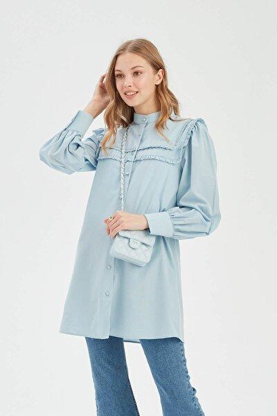 Kadın Mavi Fırfırlı Gömlek