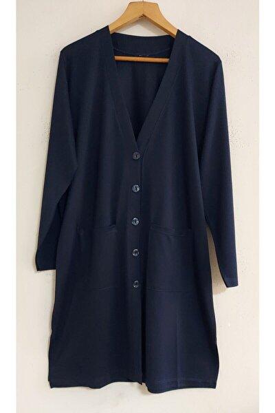 Kadın Lacivert Uzun Kollu Cepli Penye Tunik Ceket
