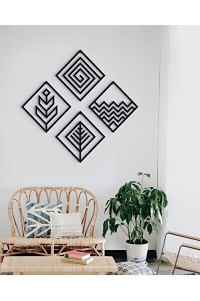 Dört Element Temalı  Siyah Modern Ahşap Duvar Tablo